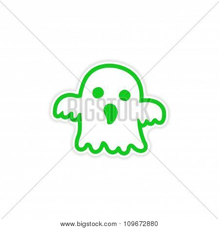 icon sticker realistic design on paper ghost