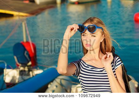Girl Enjoying Summer Breeze Outdoor In Marina