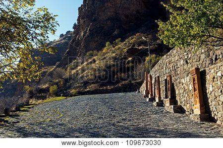 Street Of Cobblestones Of Geghard Monastery
