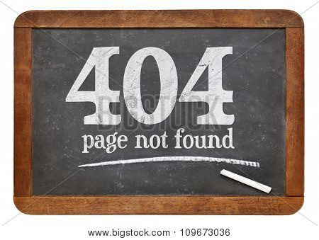 Page not found 404 error - white chalk text on a vintage slate blackboard