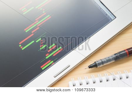 Stock Or Forex Graph Or Candlestick Chart In Tablet Screen And Pen And Notebook