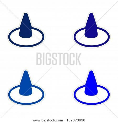 assembly sticker colorful witch hat on a white background