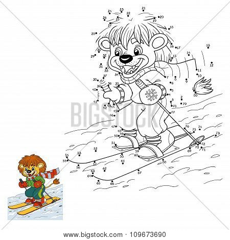 Numbers Game For Children: Little Lion Skiing