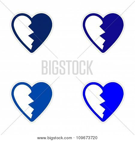 assembly sticker bright heart broken into pieces on white background