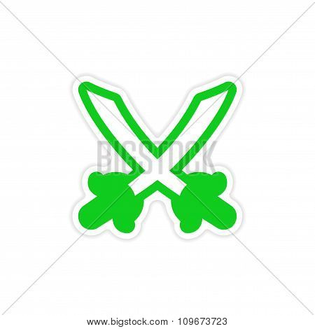 sticker Bright crossed swords on a white background
