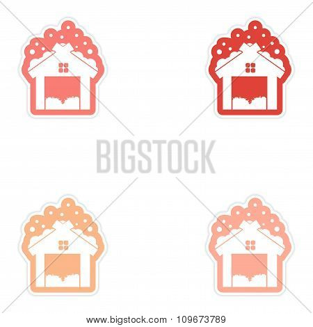 Set of paper stickers on white background barn in snow