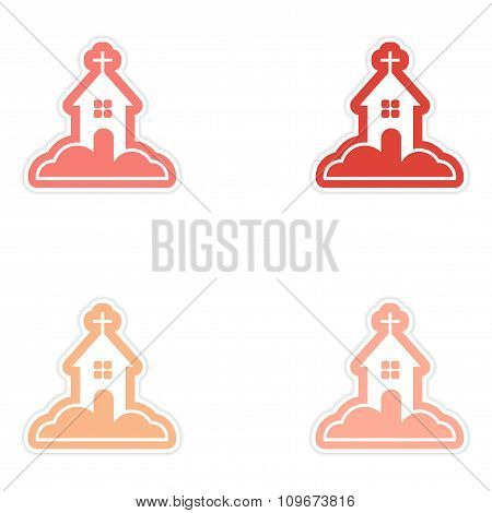 Set of paper stickers on white background Church in snow