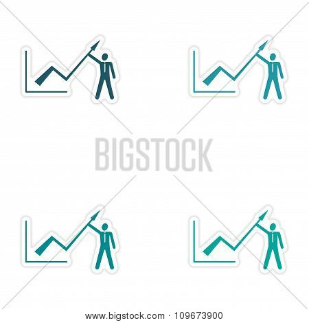 Set of stylish sticker on paper Economic graph and people
