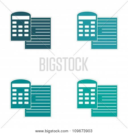 Set of stylish sticker on paper documents and calculator