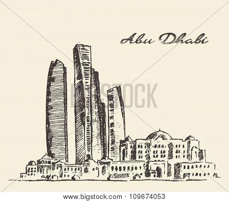 Abu Dhabi skyline vintage illustration hand drawn