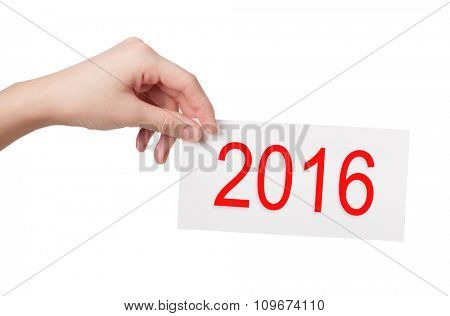 New year card in woman hand isolated on white background