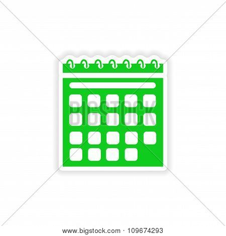 icon sticker realistic design on paper calendar