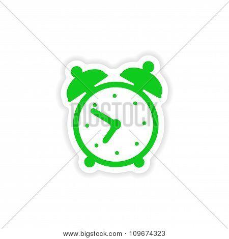 icon sticker realistic design on paper alarm clock