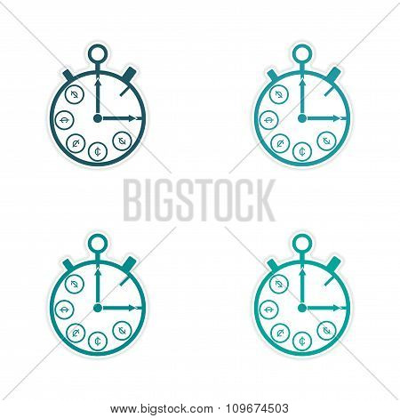 Stylish assembly sticker on paper Stopwatch and money