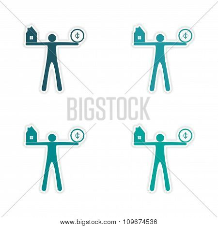 Stylish assembly sticker on paper people House Coin