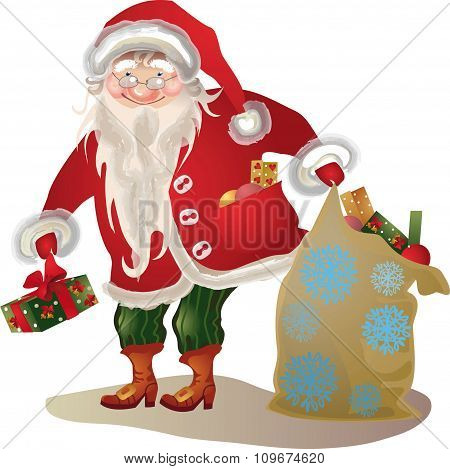 Santa Claus,  Vintage Isolated Cartoon Character