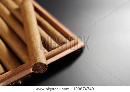 Collection of cigars in humidor on black table, closeup
