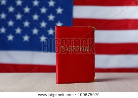 Passport on American Flag background