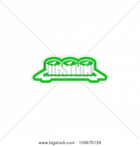 sticker serving of sushi rolls on a plate