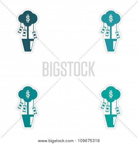 Set of stylish sticker on paper money tree and dollars