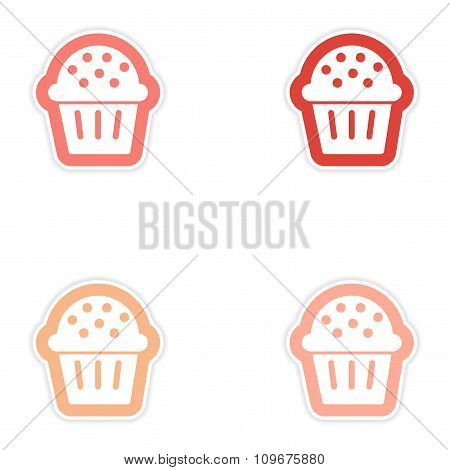 Set of paper stickers on white background Christmas cake