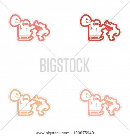 Set of paper stickers on white background Santa in sleigh