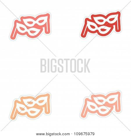Set of paper stickers on white background Christmas mask