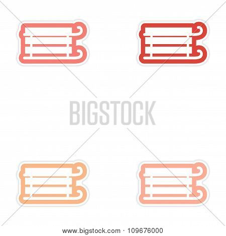 Set of paper stickers on white background children sledges