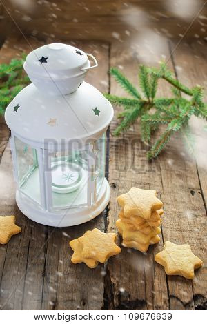 Homemade Christmas cookies stars and lantern, illustration of sn