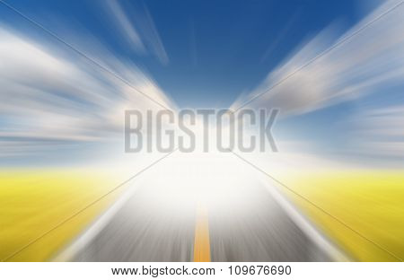 Sun And Road With Motion Blur