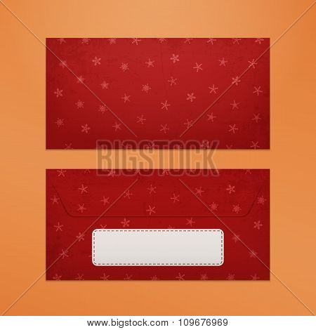 Realistic red Christmas Envelope to Santa Claus