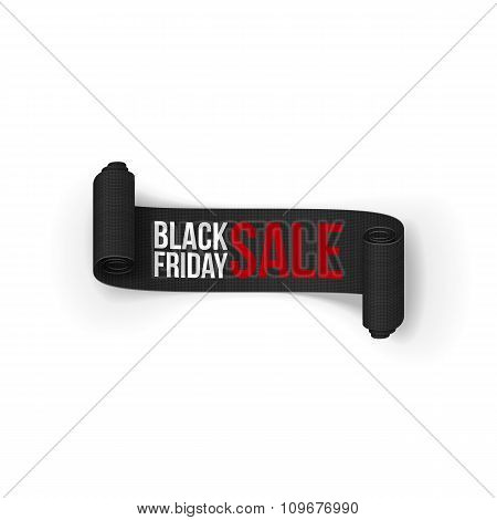 Black Friday Sale realistic curved Paper Ribbon