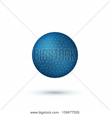 Realistic Christmas blue Ball with Shadows