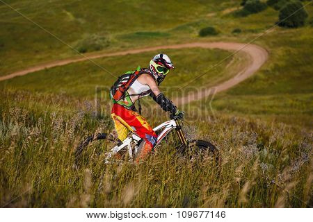Extreme Sports - Young Woman With Downhill Bike