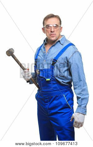 brutal Workers in protective glasses with a sledgehammer. isolated on white background