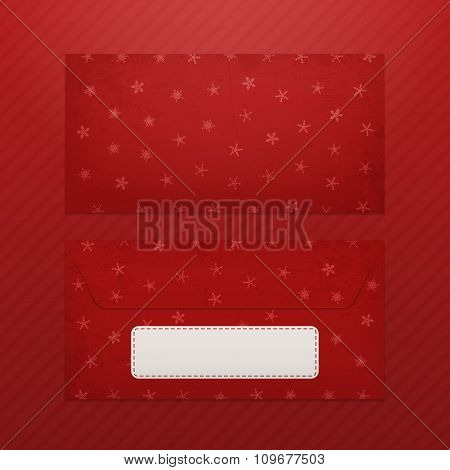 Realistic Christmas Envelope Template for Santa