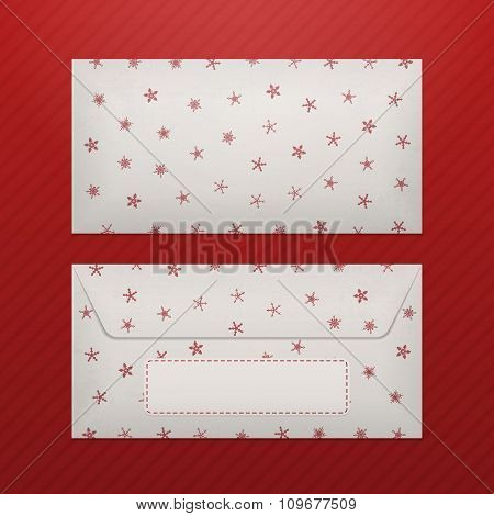 Christmas Letter Envelope with Snowflakes