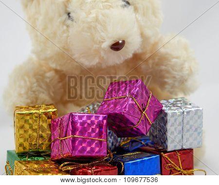 Gift box with teddy bear