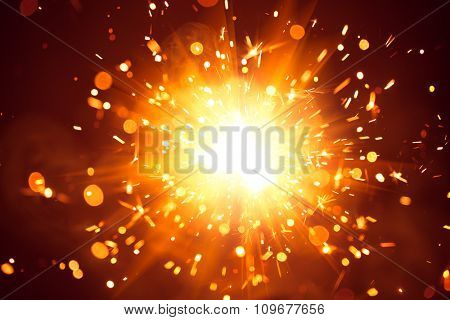 Christmas background with shiny sparkler light