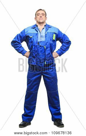 Full length worker in a boiler suit. isolated on white background