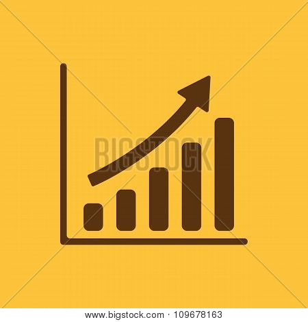 The growing graph icon. Progress symbol. Flat