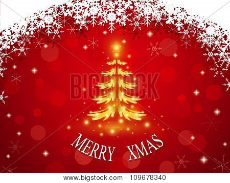 Golden Christmas Tree On Red Background With Snowflake Frame And Bokeh