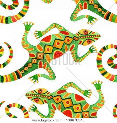 Watercolor Seamless Cactus Pattern With Lizards