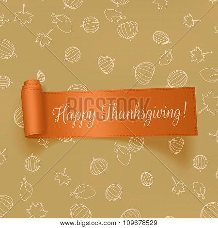 Realistic Thanksgiving greeting Card with Ribbon