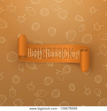 Realistic scroll orange Thanksgiving Banner