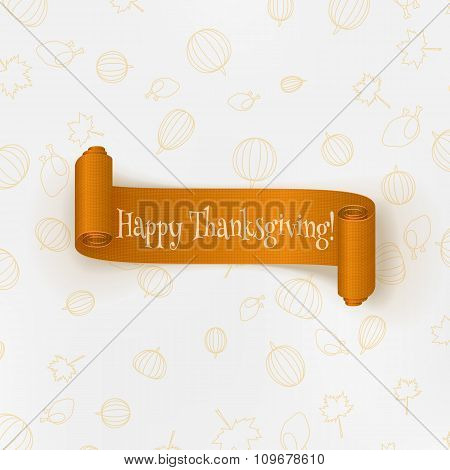 Realistic Thanksgiving curved paper Banner