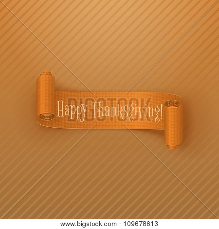 Thanksgiving greeting Card with orange Ribbon