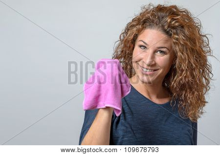 Woman Holding A Cleaning Rag