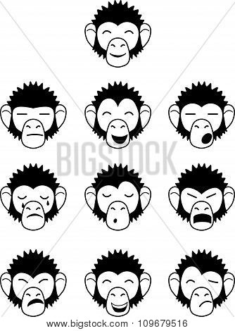 Glyph  monkey face expressions