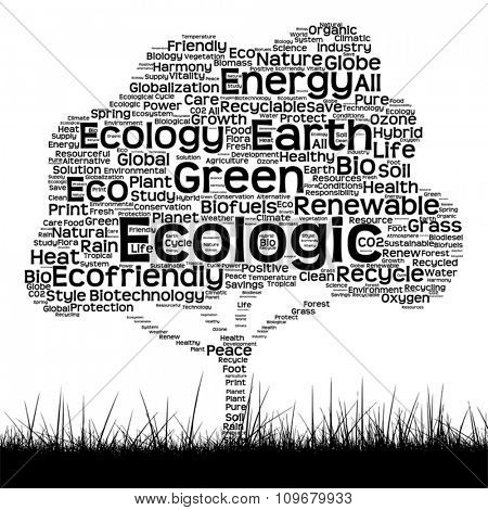 Vector concept or conceptual black ecology text word cloud as tree and grass isolated on white background